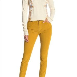 Free people yellow high rise skinny cords